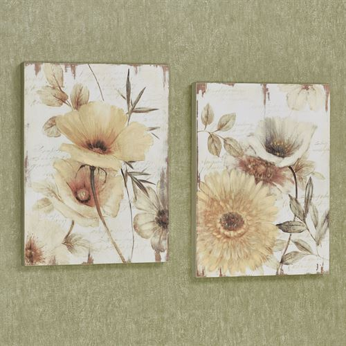 Cheerful Blooms Wall Art Plaques Yellow Set of Two