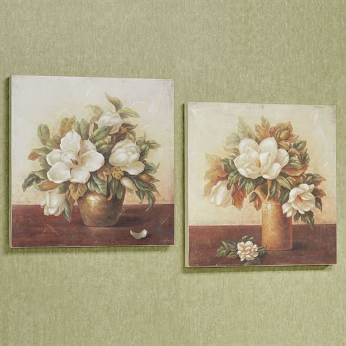 Blooming Magnolia Wall Art Plaques Multi Warm Set of Two