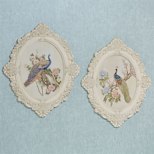 Floral Peacock Wall Plaques Multi Pastel Set of Two