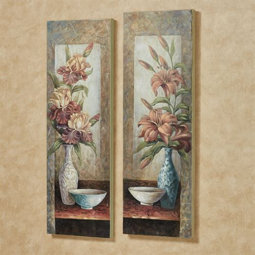 Lily and Iris Floral Wall Art Plaques Multi Warm Set of Two