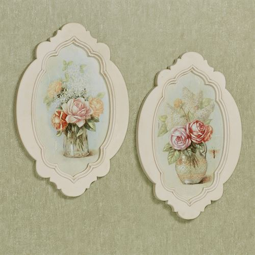 Charming Bouquet Floral Wall Plaques Multi Pastel Set of Two