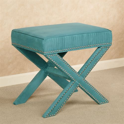 Lenora Accent Stool Teal Blue