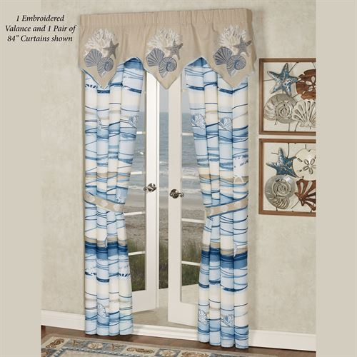 Coastal View Embroidered Valance Sand 60 x 20