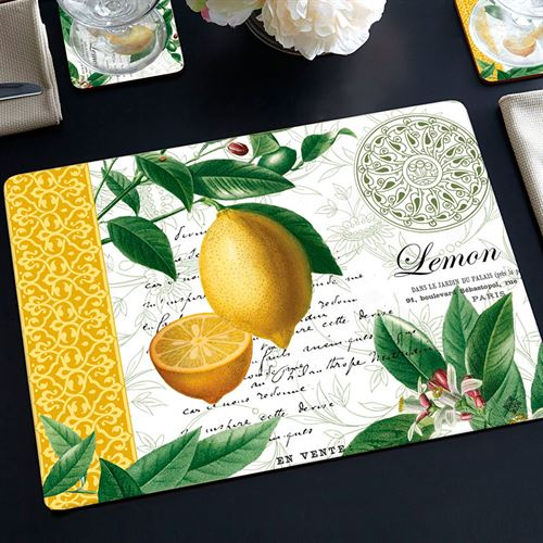 Citron Lemon Hardboard Placemats Yellow Set of Four
