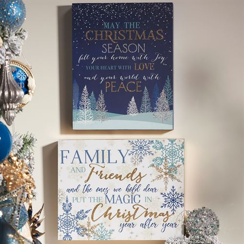 Christmas Spirit Wall Plaques Blue/White Set of Two