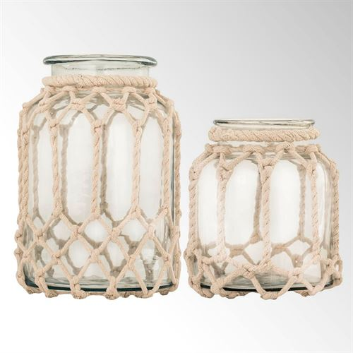 Voyager Hurricane Candleholders Natural Set of Two