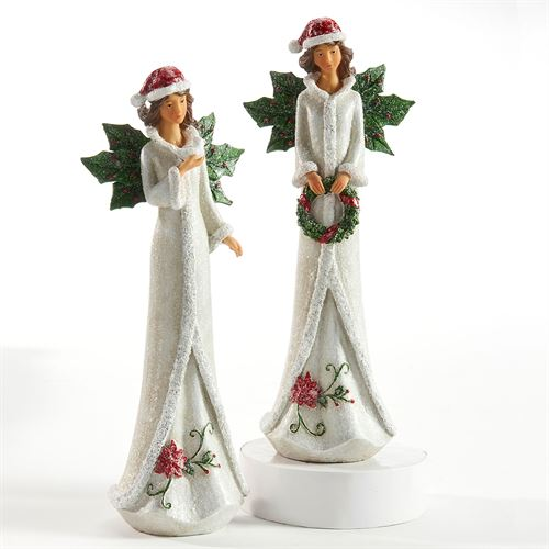 Angels of Christmas Figurines White Set of Two