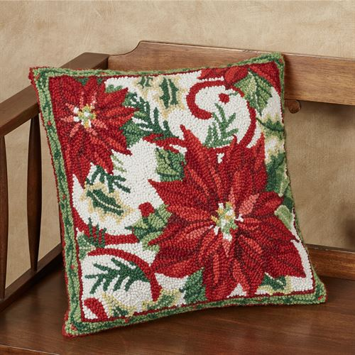 Joyful Poinsettia Decorative Pillow Red 16 Square