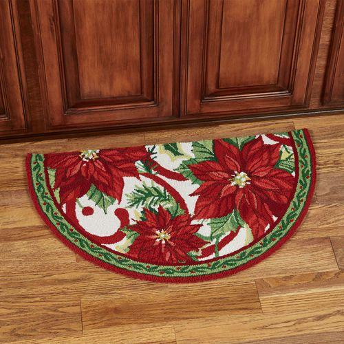 Joyful Poinsettia Slice Rug Red 34 x 20