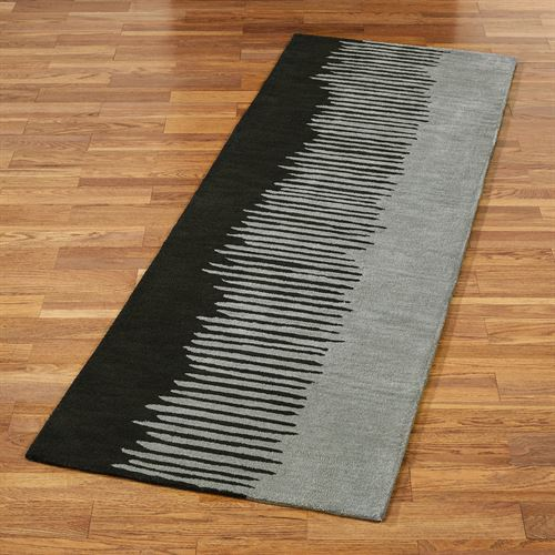 Blurred Lines Black And Dark Gray Contemporary Abstract Rug Runner