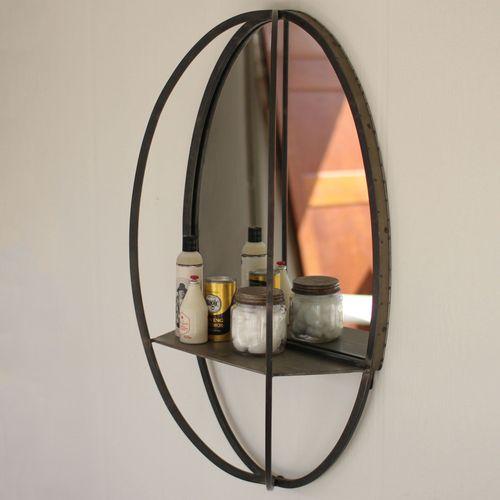 Oval Mirror with Wall Shelf Gray
