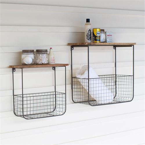 Industrial Wall Storage Shelves Brown Set of Two