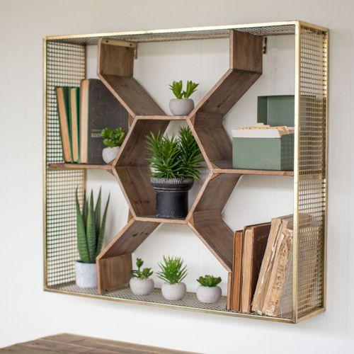 Honeycomb Wall Shelf Antique Brass