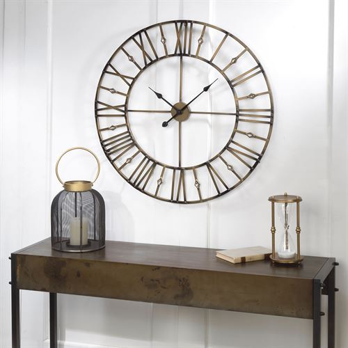 Jeweled Wall Clock Burnished Gold