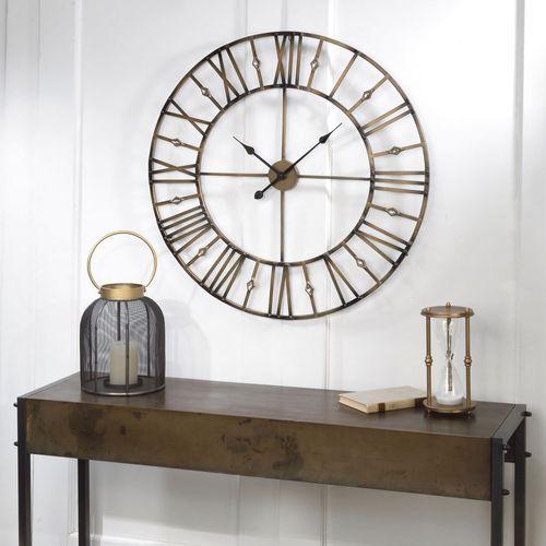 Jeweled Wall Clock Burnished Gold