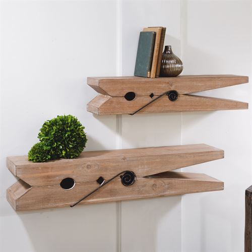 Clothespin Wall Shelves Natural Set of Two