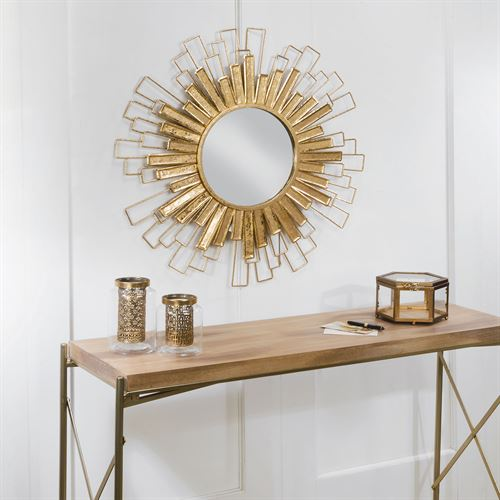 Gold Foil Sunburst Wall Mirror Sculpture