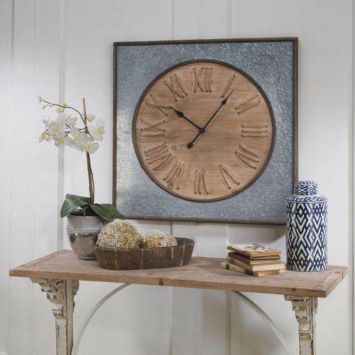 Galvanized Wall Clock Gray