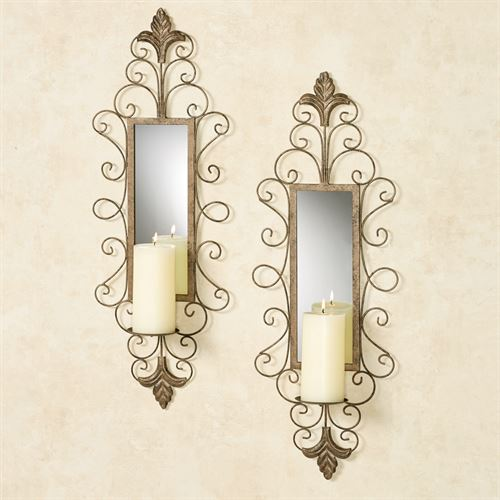 Jervissa Mirrored Wall Sconces Antique Gold Pair