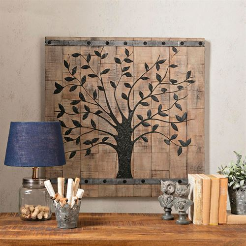Tree of Life Plank Wall Art Brown