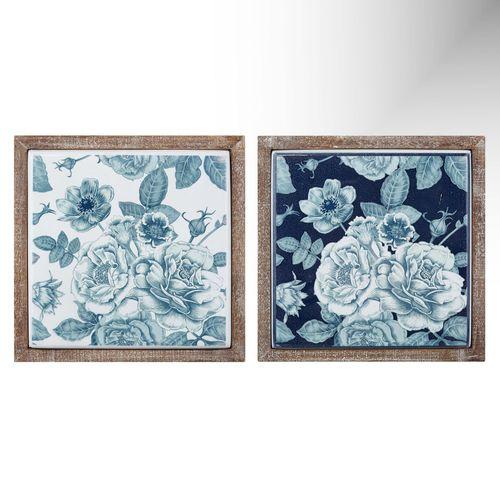 Bettsville Metal Tile Framed Wall Art Blue/White Set of Two
