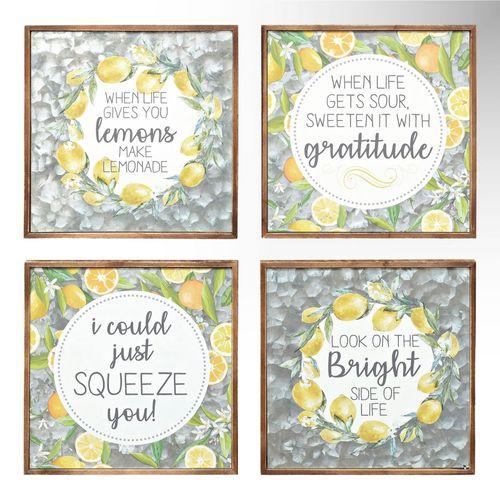 Lemons Framed Wall Art Decor Yellow Set of Four