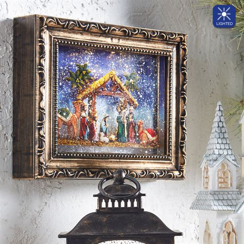 Nativity Lighted Framed Water Globe Multi Warm