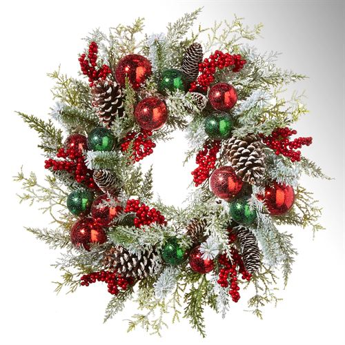 Holiday Frost Wreath Red