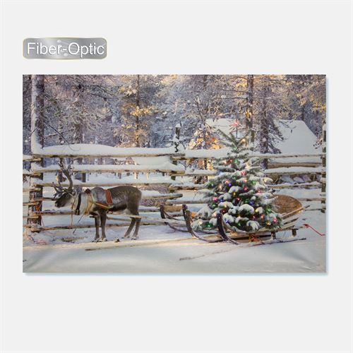 Christmas Frost Lighted Canvas Wall Art Brown