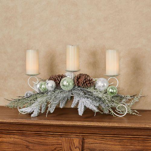 Winter Frost Candleholder Centerpiece Green