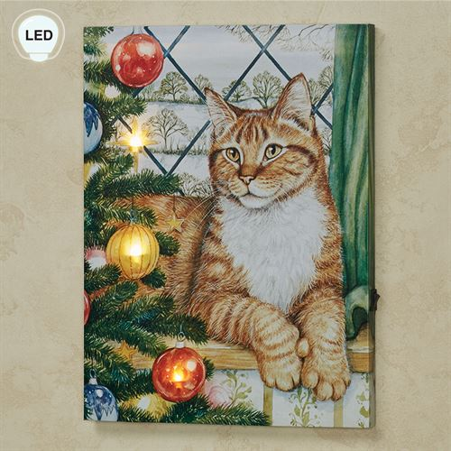 Kitten with Christmas Tree Lighted Canvas Wall Art Multi Warm