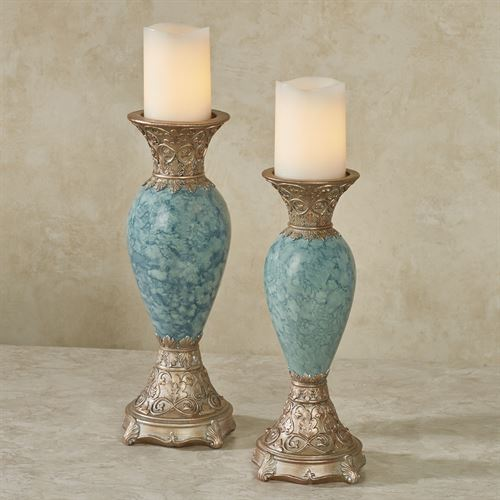 Cambria Candleholders Aqua Set of Two