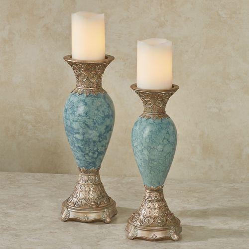 Cambria Candleholders Aqua Set of Two