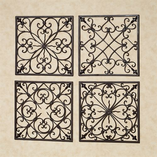 Lachandra Square Wall Grille Set Antique Rust Set of Four