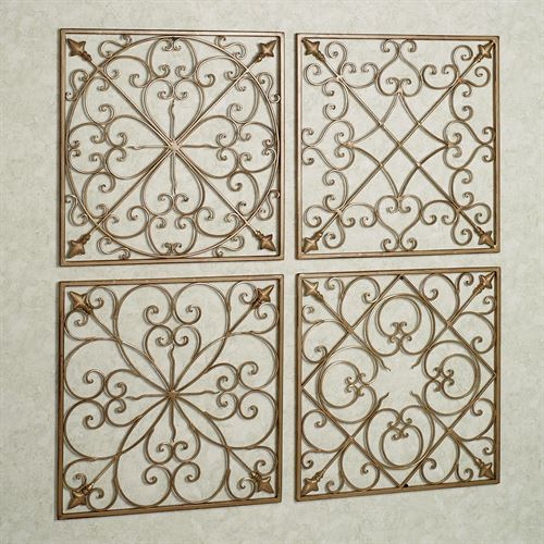 Lachandra Satin Gold Square Wall Grille Set Set of Four