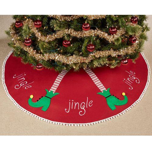 Jingle Elf Legs Christmas Tree Skirt Red