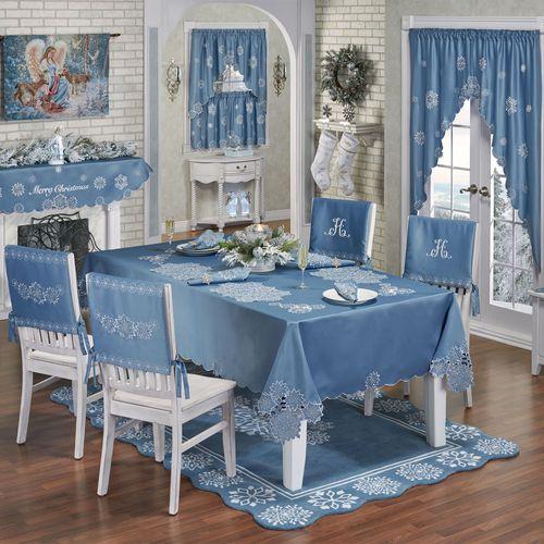 Snowfall Oblong Tablecloth Celestial Blue