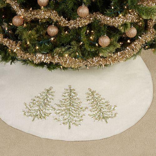 Winter Garden Christmas Tree Skirt Tan