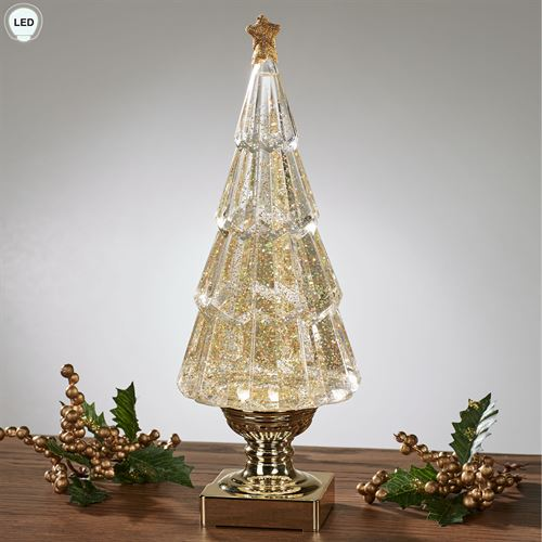 Glitter Swirl LED Christmas Tree Figurine Gold