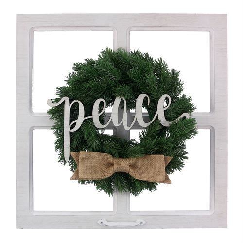Peace Faux Window Wall Decor Weathered White
