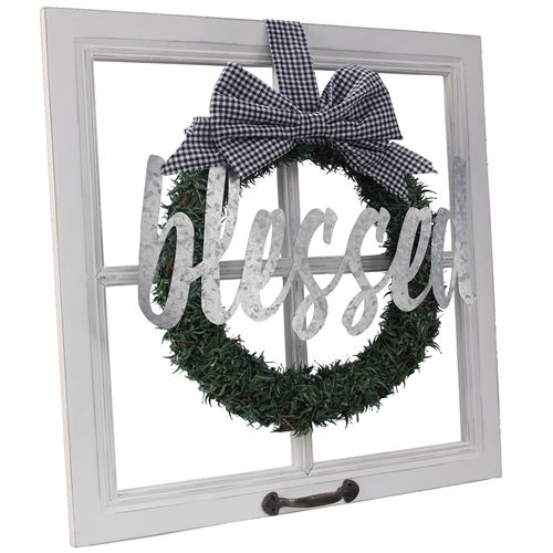 Blessed Faux Window Wall Decor Weathered White