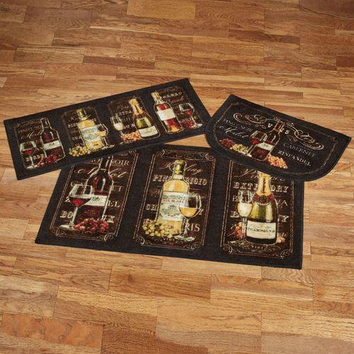 Chalkboard Sign Wine Accent Rugs Black Three Piece Set