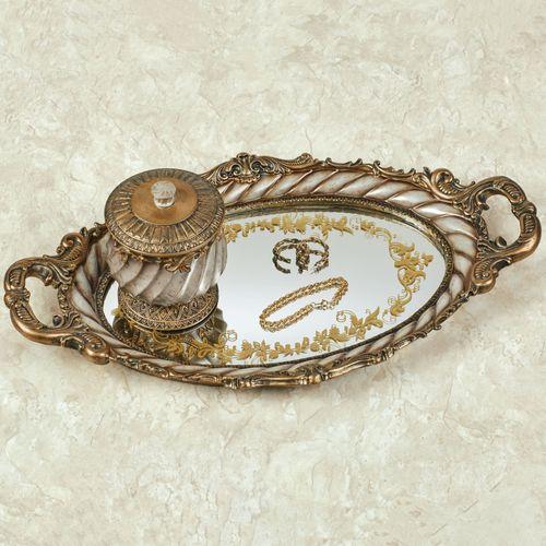 Monacio Mirrored Vanity Tray Antique Silver