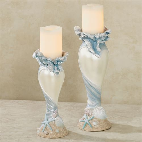 Rising Tides Candleholders Blue Set of Two