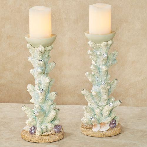 Coral Candleholder Pair Aqua