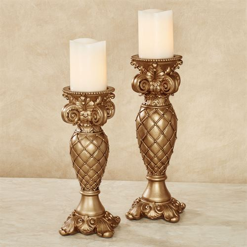 Corinthia Candleholders Aged Gold Set of Two