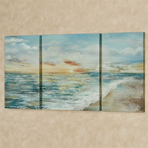 Coastal Dawn Canvas Triptych Wall Art Multi Cool Set of Three