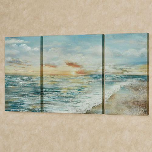 Coastal Dawn Canvas Triptych Wall Art Multi Cool Set of Three