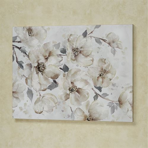 Enchanted Blooms Floral Canvas Wall Art Beige