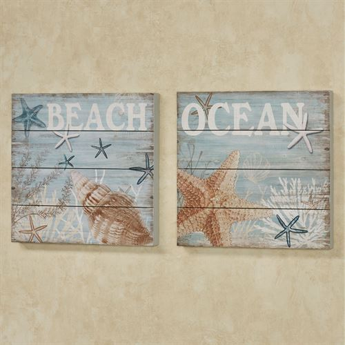 Under The Sea Coastal Plank Style Wooden Wall Art Plaque Set